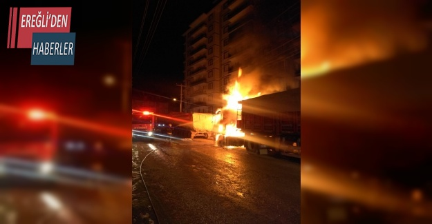 Konya'da park halindeki tır yandı