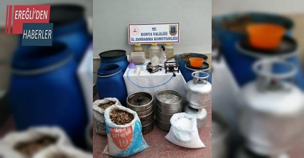 Jandarma'dan sahte alkol üretimine suçüstü