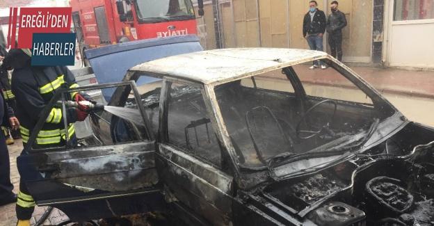 Park halindeki LPG'li otomobilde yangın