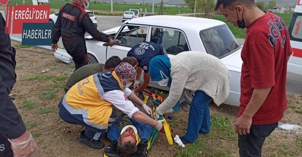 Konya'da otomobil refüje çıktı: 1 yaralı