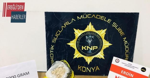 Konya'da 3 kilo 265 gram eroin ele geçirildi