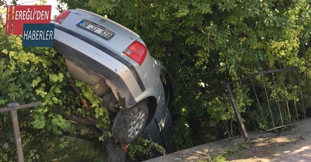 Kazada bahçeye düşen otomobil erik ağacında asılı kaldı