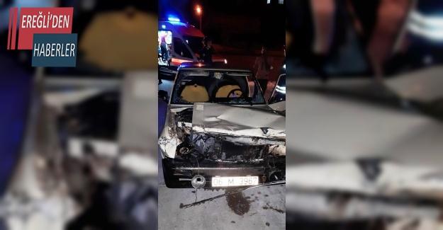 Konya'da otomobil refüje çarptı: 1 yaralı