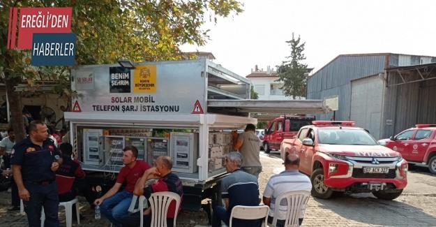 Konya Büyükşehir Manavgat'a solar mobil telefon şarj istasyonu kurdu
