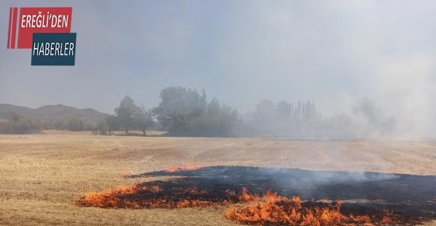Konya'da tarlada çıkan yangın korkuttu