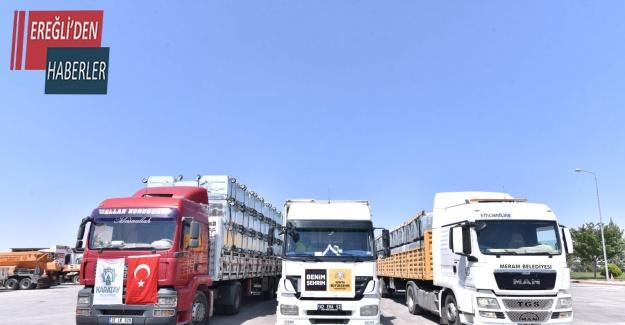 Konya'dan sel bölgesine jeneratör ve çöp konteyneri desteği