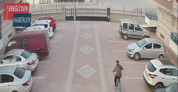 Sitenin bahçesinden bisiklet çalan hırsız kameraya yakalandı