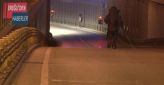 Yol kenarındaki şüpheli poşet fünye ile patlatıldı