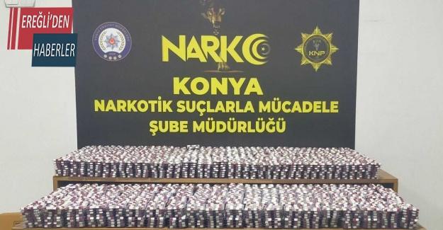 Konya polisi 1 buçuk milyon lira değerinde uyuşturucu madde ele geçirdi
