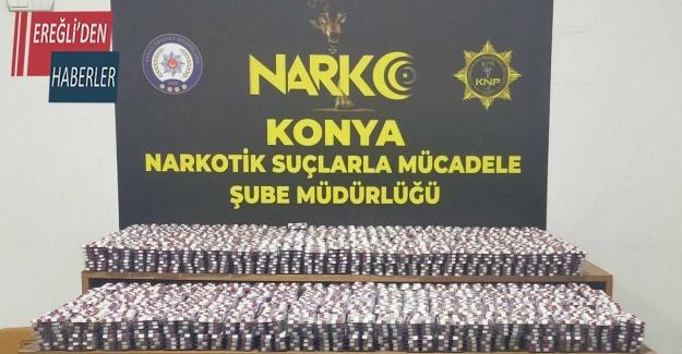 Konya'da 29 bin 944 adet uyuşturucu hap ele geçirildi